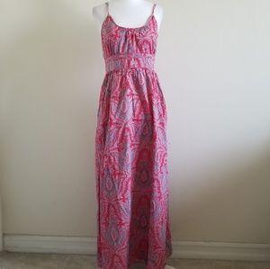 JCrew pink and blue pattern maxi dress